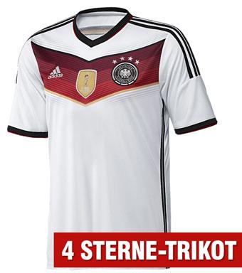 Das weiße WM 2014 Heimtrikot von Deutschland mit 4 Sternen