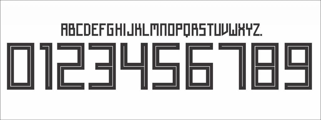 Rückennummern und Spielernummern mit einer eckigen Schriftart als Original Flock