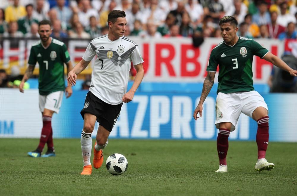 Julian Draxler mit der Nummer 7 auf dem Deutschland Trikot gegen Mexiko beim 1.Gruppenspiel bei der Fußball WM 2018 - Deutschland verliert im weißen WM-Trikot mit 0:1. (Marco Iacobucci EPP / Shutterstock.com)