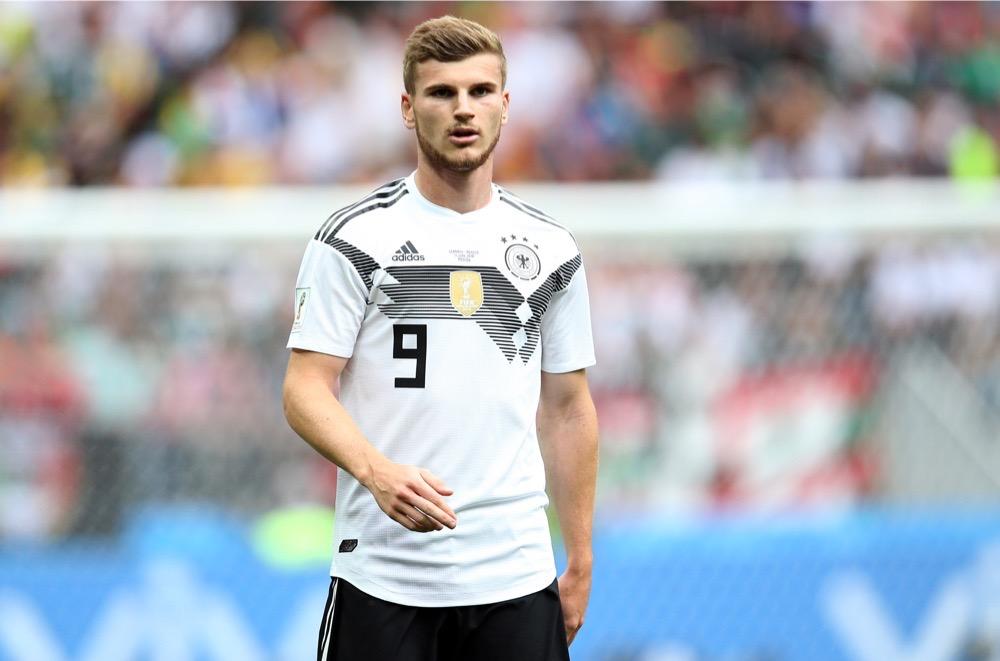 Timo Werner mit der Nummer 9 auf dem Deutschland Trikot gegen Mexiko beim 1.Gruppenspiel bei der Fußball WM 2018 - Deutschland verliert im weißen WM-Trikot mit 0:1. (Marco Iacobucci EPP / Shutterstock.com)