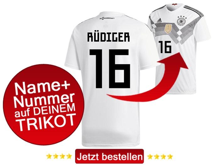 Das neue DFB Trikot mit Beflockung von Antonio Rüdiger mit der Nummer 16 kaufen.