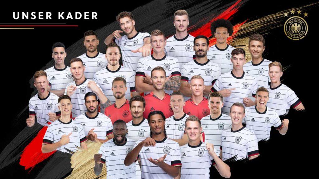 Der DFB Kader bestehend aus 26 Nationalspielern 2021.